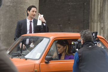 Adrien Brody Moran Atias Adrian Brody and Moran Atias take direction from Paul Haggis, as they continue to film his new film 'Third Person' in Rome