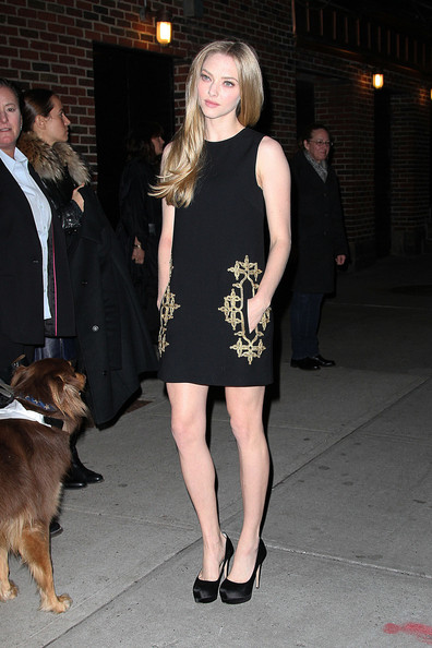 Amanda Seyfried - Amanda Seyfried is followed around by her number one fan, her dog Finn, as she leaves 'The Late Show with David Letterman' in New York City