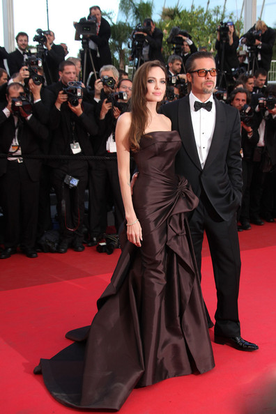 "Angelina Jolie Brad Pitt and Angelina Jolie arrive before the screening of ""The Tree of Life"", held during the 64th Annual Cannes Film Festival."