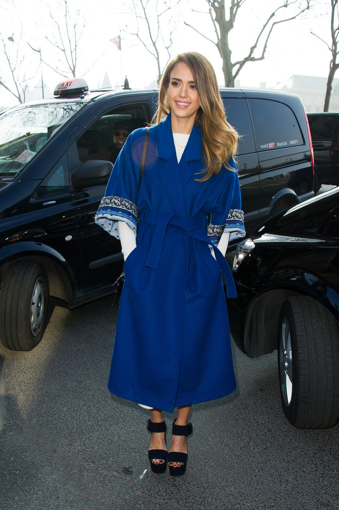Love it or Loathe it - Jessica Alba's Belted Blue Coat - Vote Here!