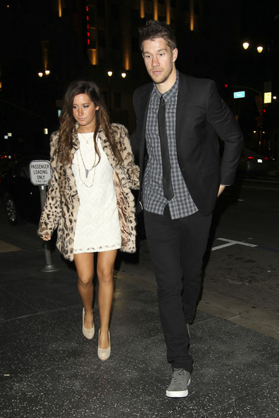 Ashley Tisdale Ashley Tisdale wears an animal print faux fur coat to dinner at Katsuya with her current beau, Scott Speer.