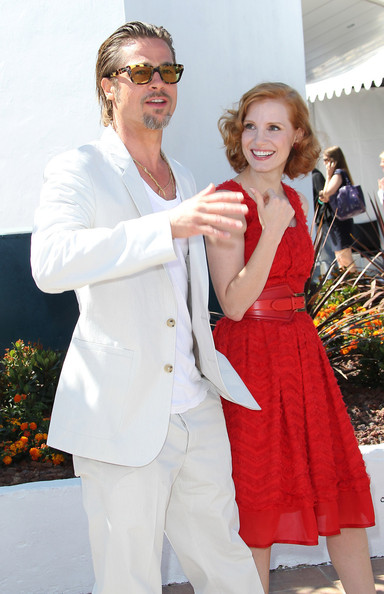 "Brad Pitt Brad Pitt and Jessica Chastain pose for the cameras during a photocall for ""The Tree of life"" at the 64th Cannes Film Festival, held at the Palais des Festivals on the Croisette avenue in Cannes."