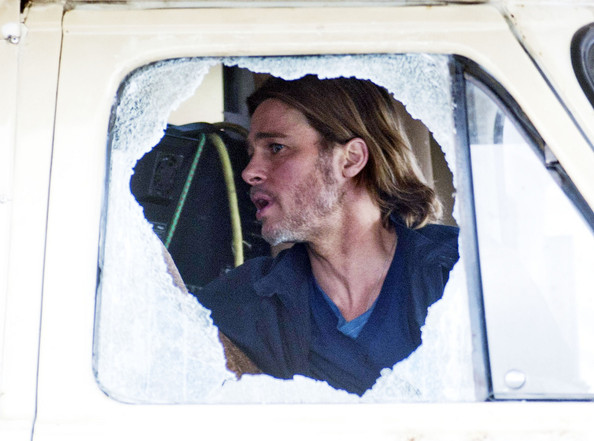 "Brad Pitt films a scene for the upcoming zombie flick ""World War Z"" in a camper van while shooting on location in Scotland.  The film, which is set in Philadelphia, is being shot in various parts of Glasgow, transforming it to shoot the post apocalyptic zombie film."