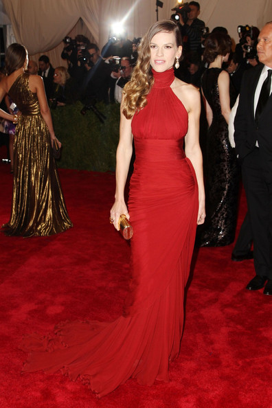 Hilary Swank blends into the red carpet at the Met Gala at the Metropolitan Museum of Art in NYC.