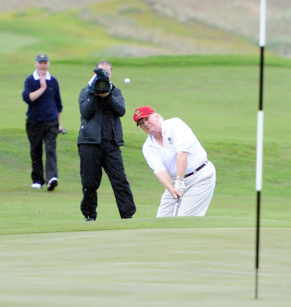 Business Magnate Donald Trump Takes To The Course At The