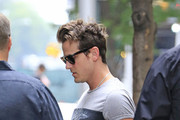 Jared Followill from Kings of Leon band seen checking out from the 'Four Seasons Hotel' while on their way to Oklahoma for a concert in New York City.