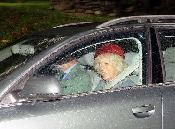 Prince Charles and Camilla Parker Bowles make their way to Crathie Church for Sunday service