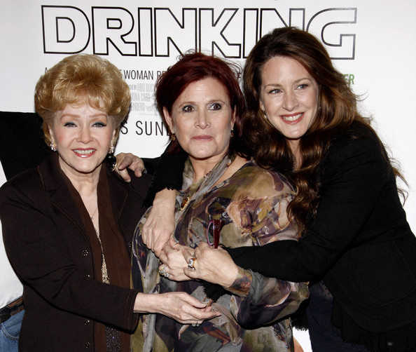 "Debbie Reynolds, Carrie Fisher, and Joely Fisher at the Premiere of ""Wishful Drinking"" []"