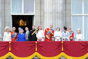 Camilla, Duchess of Cornwall, Prince Charles, Prince of Wales, Queen Elizabeth II, Prince Andrew, Duke of York, Prince Harry, Catherine, Duchess of Cambridge and Prince William, Duke of Cambridge, Princess Eugenie and Princess Beatrice stand on the balcony during the annual 'Trooping the Colour' ceremony at Buckingham Palace in London.