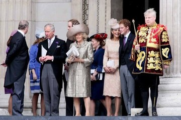 Prince William Prince Charles Catherine Duchess of Cambridge seen leaving St Paul's Cathedral in London after Queen Elizabeths Diamond Jubilee Thanksgiving Service