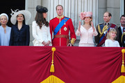 The Duke and Duchess of Cambridge join Prince Andrew and Sophie Rhys-Jones in watching the Trooping the Colour parade from Buckingham Palace.