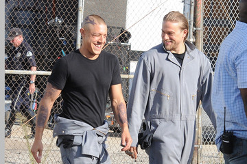 Charlie Hunnam Theo Rossi 'Sons of Anarchy' Films in LA