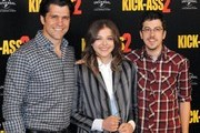 Director Jeff Wadlow and actors Chloe Grace Moretz and Christopher Mintz-Plasse attend the 'Kick-Ass 2' Photocall at Claridges Hotel in London.