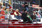 """(L-R) HDianna Agron, Heather Morris, Chrod Overstreet, Harry Shum Jr, Chris Colfer, Jenna Ushkowitz, Mark Salling and Ashley Fink taking a break in Times Square as the """"Glee"""" stars shoot on location in the Big Apple."""