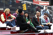 """(L-R) Chord Overstreet, Harry Shum Jr, Chris Colfer, Jenna Ushkowitz, Mark Salling and Ashley Fink taking a break in Times Square as the """"Glee"""" stars shoot on location in the Big Apple."""