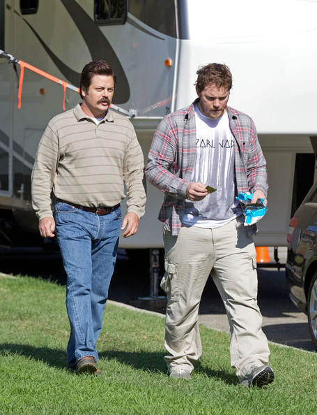 Photo of Nick Offerman & his friend actor  Chris Pratt - The Lego Movie