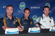 David Beckham, Landon Donovan, and Bruce Arena discuss their participation in the 2011 Herbalife World Football Challenge. During the press conference the players held up each others Soccer Jerseys.