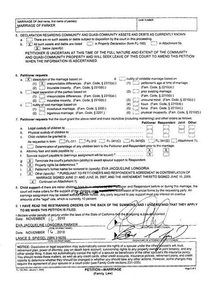Eva Longoria Divorce Papers