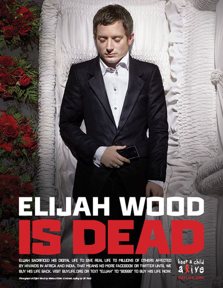 Elijah Wood .HOLLYWOOD IS DEAD - CELEBRITIES POSE IN COFFINS AND GO OFF LINE IN 'DIGITAL DEATH' FOR WORLD AIDS DAY: A host of celebrities are raising money for charity by signing off their social networking sites for 24 hours - and playing dead in a series of macabre photographs. Lady Gaga, Justin Timberlake, Usher, Kim Kardashian, Jennifer Hudson, Ryan Seacrest, Elijah Wood, Serena Williams and Swizz Beatz are all pictured lying flat out in their coffins. The stars also suffered a 'digital death' for one day and signed off all their Twitter, Facebook and MySpace accounts to raise cash for World Aids Day on Wednesday. They logged off on Tuesday and will not sign back on until $1 million has been raised for Alicia Keys' Keep A Child Alive cause. During 'The Digital Life Sacrifice' they all filmed 'last tweet and testament' videos which will appear in ads showing them in coffins. Lady Gaga has more than seven million Twitter followers - while 3.5 million have signed up for Justin Timberlake's tweets. Alica Keys said: ''Once I got people on the phone and I was able to paint the concept for them, everybody was in. ''We're trying to make the remark, 'why do we care so much about the death of one celebrity as opposed to millions and millions of people dying in the place that we're all from?'' Celebrities taking part also include P Diddy, Serena Williams, Janelle Monae, Kimberly Cole, David LaChapelle, Daphne Guinness and Bronson Pelletier.