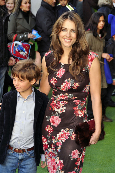 "Elizabeth Hurley Liz Hurley and her son Damian on the red carpet at the UK premiere of Sir Elton John's and David Furnish's new film ""Gnomeo and Juliet"" at the Odeon Cinema at Leicester Square in London. David, who executive-produced the project with partner Elton, said: ""We'd love to make more kids' films. This has been really wonderful. We're very excited that in four or five years' time Zachary will be able to see this film."" The film which the couple refer to as their ""Labour of love"" has been in production for 11 years. **NORTH AMERICAN USE ONLY** ."