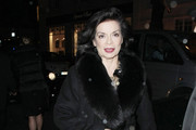 Bianca Jagger leaves Claridges Hotel in London after the Harpers Bazaar Women of the Year 2011 Awards .