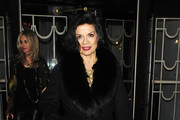 Bianca Jagger leaves the Harper's Bazaar Women Of The Year Awards 2011 held at Claridges Hotel, London.