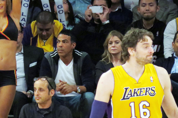 Ellen Pompeo and Chris Ivory at the Lakers Game []