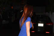 Erin Cosgrove from the new reality show 'Summer Camp' leaves Chateau Marmont in a blue short dress in West Hollywood.