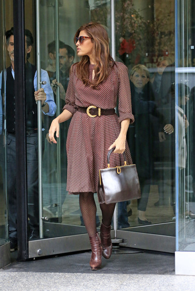 Eva Mendes seen leaving the office building after a meeting in Midtown, NYC.