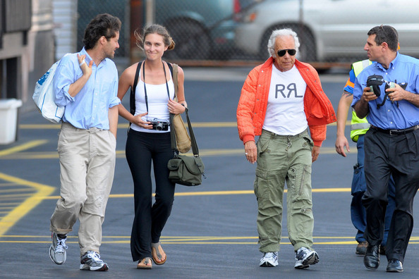Ralph Lauren and Family Board a Helicopter