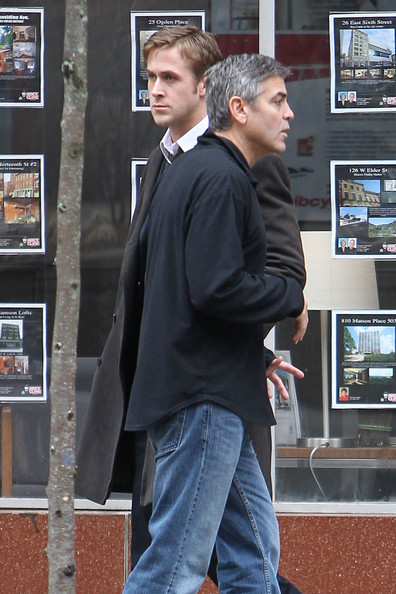"**EXCLUSIVE** George Clooney and Ryan Gosling continue work on the set of their upcoming film ""The Ides of March"". The pair were spotted filming at Clooney's character Governor Mike Morris' Detroit campaign headquarters. Campaign posters with Clooney's face and the word 'More' could be scene posted in the windows."