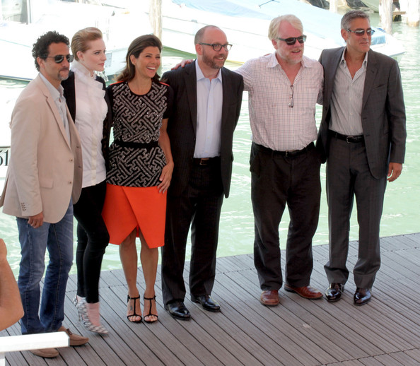 "(L-R) Grant Heslow, Evan Rachel Wood, Marisa Tomei, Paul Giamatti, Philip Seymour Hoffman and George Clooney at the photocall for ""The Ides of March"", held as part of the Venice Film Festival 2011."
