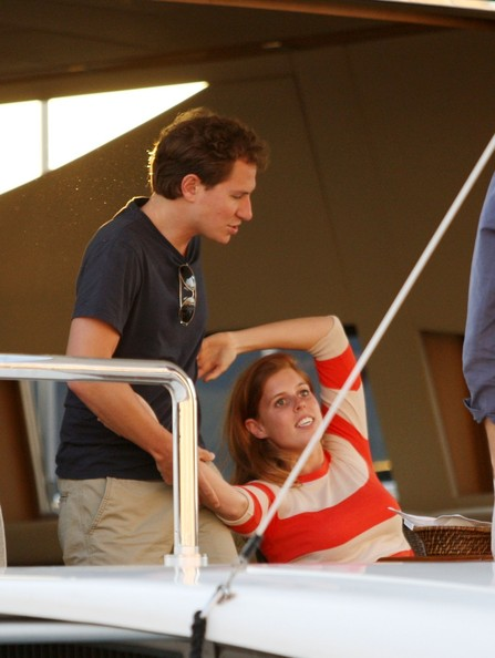 Princess Beatrice and boyfriend Dave Clark seen enjoying a romantic holiday while boarding a boat with actress Holly Valance and fiance Nick Candy in Saint Tropez, France