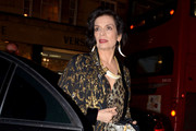 Bianca Jagger, ex-wife of rocker Mick Jagger, wears a leopard print dress as she attends the Roberto Cavalli Store Launch and After Party in London.