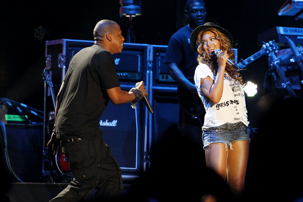 Beyonce joined her rapper husband Jay-Z onstage to perform together at the Coachella Music Festival in Indio, California. Beyonce stayed at the stage side for most of his set before dueting with her hubbie on his finale song 'Young Forever'.