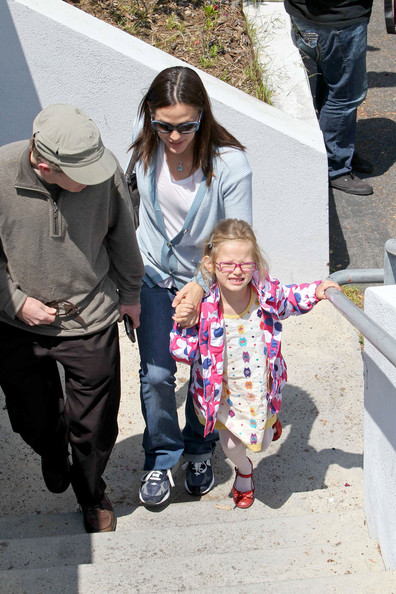 Jennifer Garner takes her adorable daughters Violet and Seraphina to a small theatre in Pacific Palisades. Jennifer has shot down pregnancy rumors that surfaced due to a fuller figure.
