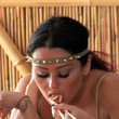 Spike Jennifer 'JWoww' Farley adjusts her makeup while filming scenes for the upcoming season of 'Jersey Shore' at the Beachcomber