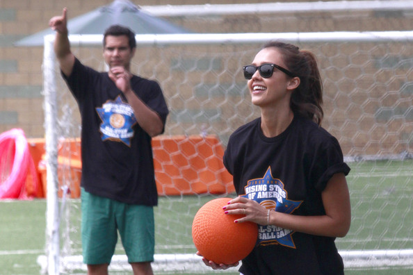 Jessica Alba and husband Cash Warren take part in the First Annual Rising Stars of America All-Star Kickball Game, held in sunny Santa Monica. Kickball roughly follows the rules of baseball, but is played with a soccer ball and is generally used to teach youngsters the basic rules of baseball.
