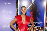 Tika Sumpter in a Racy Red Gown - Best & Worst Dressed - Sparkle Los Angeles Premiere