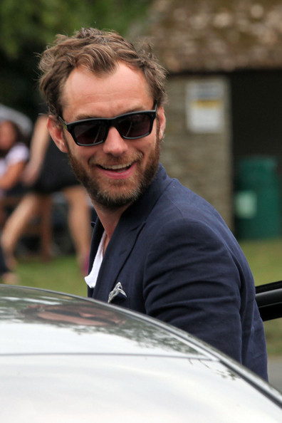 """Jude Law A bearded Jude Law winds down the weekend celebrations with his friends and family in the Cotswolds after Kate Moss's star studded wedding. The """"Sherlock Holmes"""" star was joined by ex-wife Sadie Frost at the bash, who was among those celebrating at the Swan Inn pub along with Kate Moss's ex Jefferson Hack and Meg Matthews, ex-wife of Noel Gallagher."""