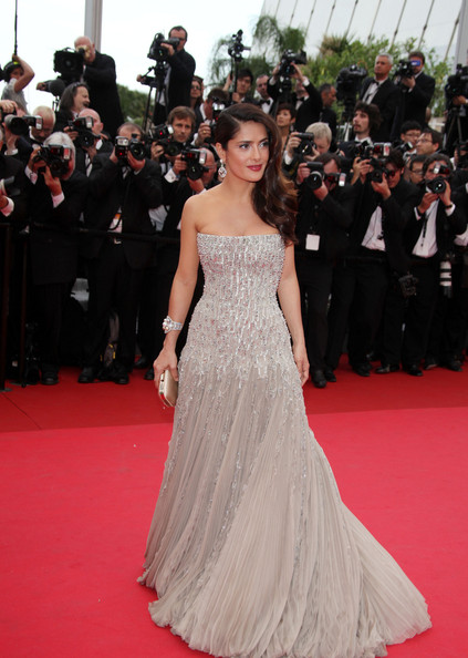 "Salma Hayek in a stunning silver gown at the premiere screening of ""Midnight in Paris"" on the opening night of the  64th Annual Cannes Film Festival."