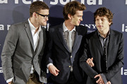 """Justin Timberlake, Andrew Garfield and Jesse Eisenberg pose for photos together at the presentation of their new film """"The Social Network"""" in Madrid."""