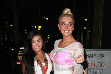 Karissa Shannon Michelle Maylene and Karissa Shannon Pose Outside Katsuya in LA
