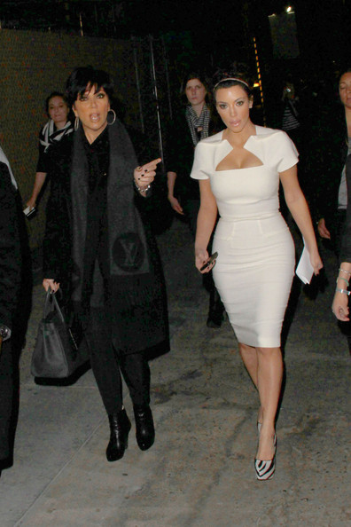 "Kim Kardashian Kim Kardashian walks beside her mother Kris Jenner after appearing on ""Jimmy Kimmel Live"" in Los Angeles. The talk show host reportedly called the reality star a ""snow angel"" in reference to her figure hugging white dress."