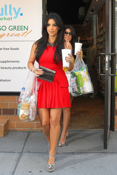 "Kim Kardashian Tuesday, August 30 2011. Kim and Kourtney Kardashian film scenes for their new show ""Kim and Kourtney Take New York"". The Kardashian sisters are seen shopping at an organic market for groceries before they head home."