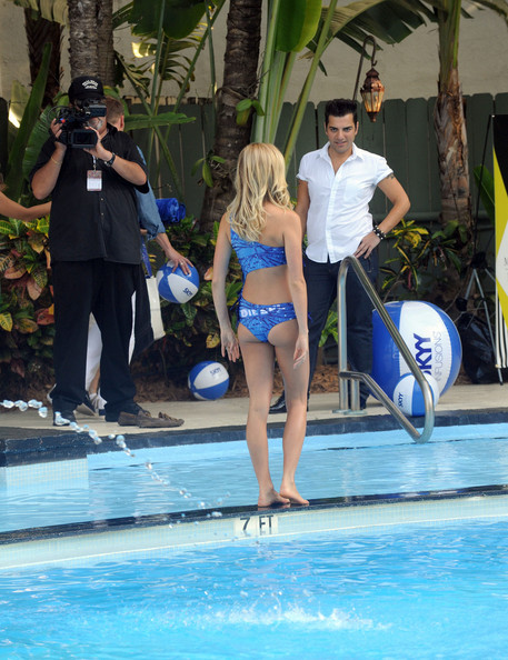 Kristin Cavallari goes for a splash in the Raleigh Hotel pool wearing a Diesel bikini made of glass.