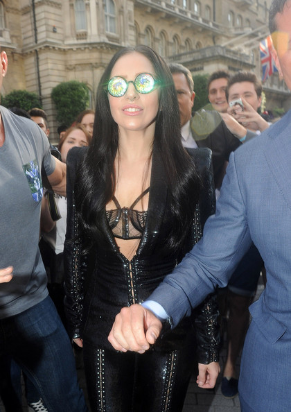 Lady Gaga leaves her hotel in another dramatic outfit on August 29, 2013.