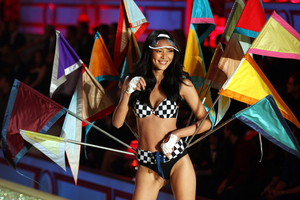 Liu Wen Liu Wen strutts her stuff during the Victoria's Secret Fashion Show 2010 in New York. Some of the world's leading models walked the runway wearing sexy lingerie whilst Katy Perry and Akon performed at the star-studded evening.