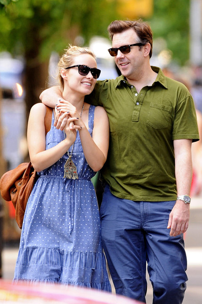 """Loved up Olivia Wilde and Jason Sudeikis smooch and cuddle while out for a romantic stroll in New York City. The pair, who are set to play a fictional couple in the upcoming romantic comedy """"Relanxious,"""" held hands before stopping to embrace and kiss at a crosswalk."""