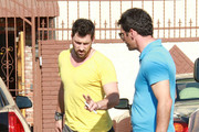 """Maksim Chmerkovskiy and Tony Dovolani practice a dance together at the """"Dancing with the Stars"""" studio."""